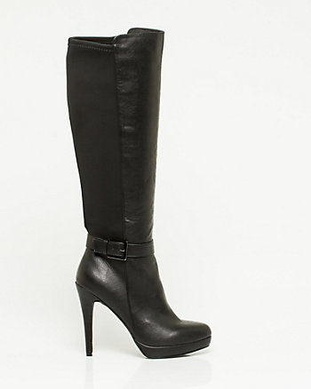 Leather-Like & Elastic Knee-High Boot