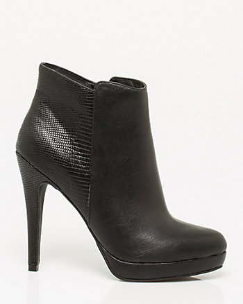 Leather-Like Pointy Toe Bootie