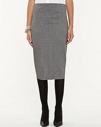 Houndstooth Ponte Pencil Skirt