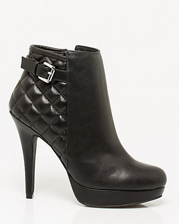 Leather-Like Quilted Bootie
