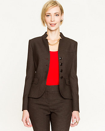 Woven Inverted Collar Blazer