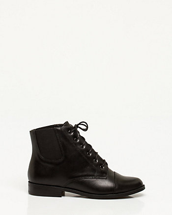 Leather Lace-Up Ankle Boot