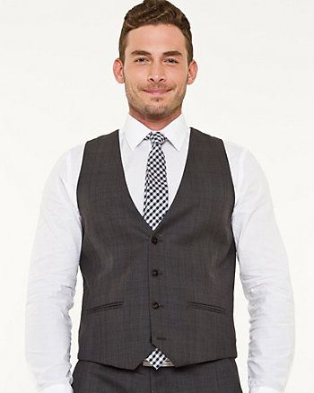 Wool Blend Glen Check City Fit Vest