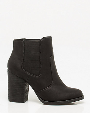 Leather-Like Block Heel Ankle Boot