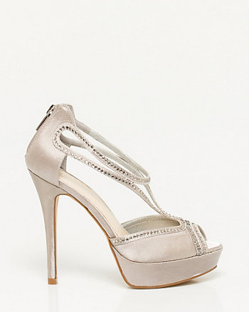 Jewel Encrusted Satin Platform Sandal