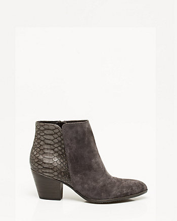 Suede & Snake Print Leather Bootie