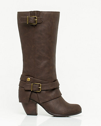 Faux Leather Block Heel Boot