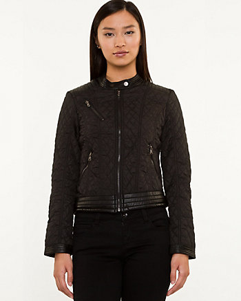 Quilted Leather-Like Moto Jacket