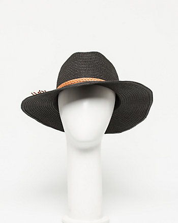 Leather-Like Trim Cowboy Hat