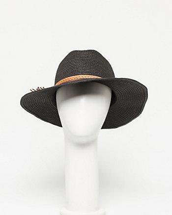 Leather-Like Trim Cowboy Hat