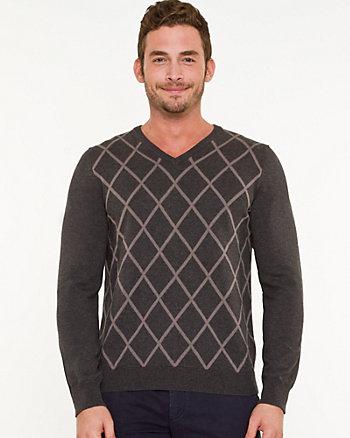 Argyle Print Slim Fit Sweater