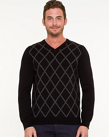 Argyle Print Slim Fit Sweater