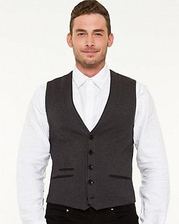 Knit Faux Leather Trim Vest