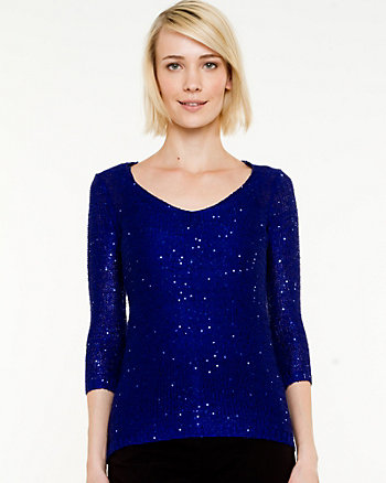 Sequin 3/4 Sleeve Sweater