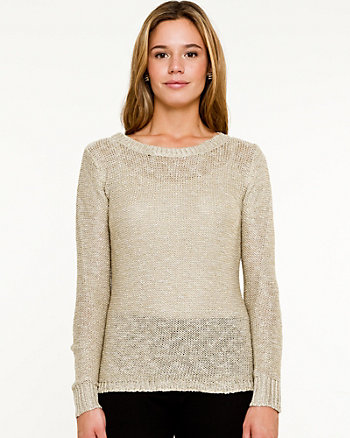 Knit & Woven High-Low Sweater