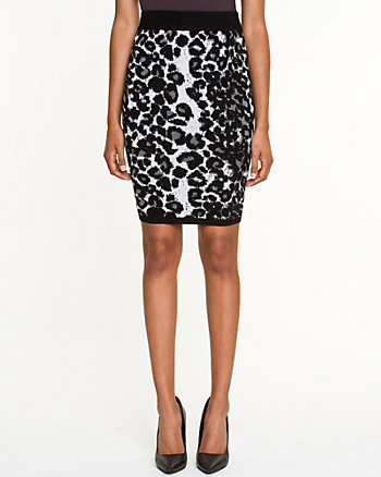 Leopard Print Fitted Pencil Skirt