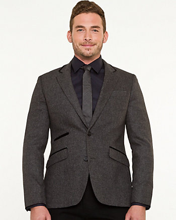 Wool Blend Tonal Slim Fit Blazer
