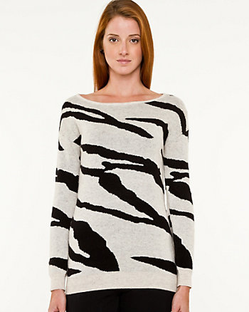 Wool Blend Zebra Print Sweater
