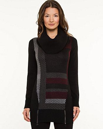 Check Print Cowl Neck Sweater