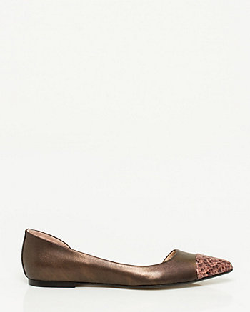 Italian-Made Leather Pointy Toe Flat