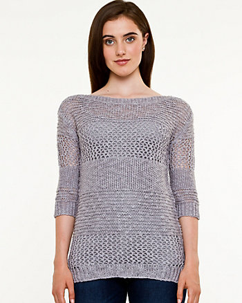 Open-Stitch Boat Neck Sweater