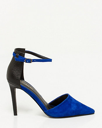 Suede Croco Embossed Pointy Toe Pump