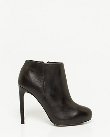 Leather Almond Toe Platform Bootie