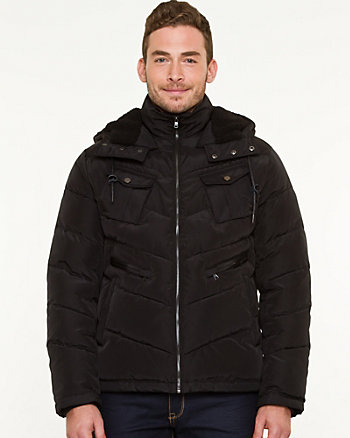 Nylon Hooded Puffer Coat