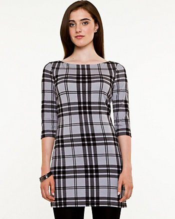 Plaid Boat Neck Tunic