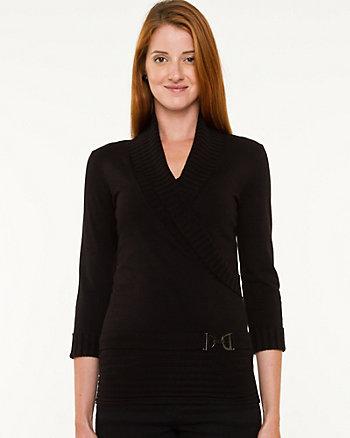 Viscose Blend Wrap Sweater
