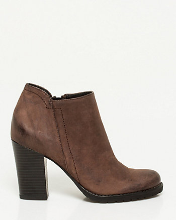 Leather Almond Toe Ankle Boot
