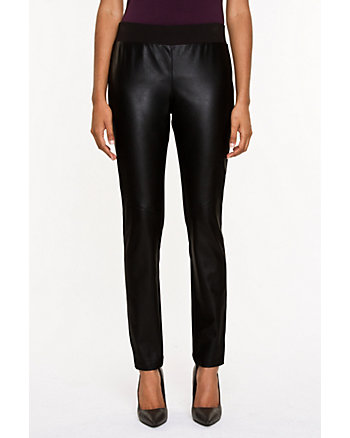 Faux Leather & Ponte Skinny Leg Legging