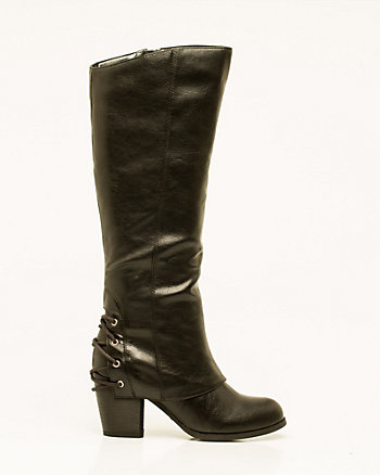 Faux Leather Knee-High Boot