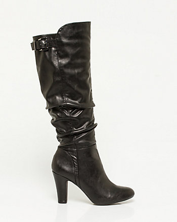 Leather-Like Knee-High Ruched Boot