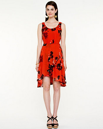 Printed Chiffon Scoop Neck Dress