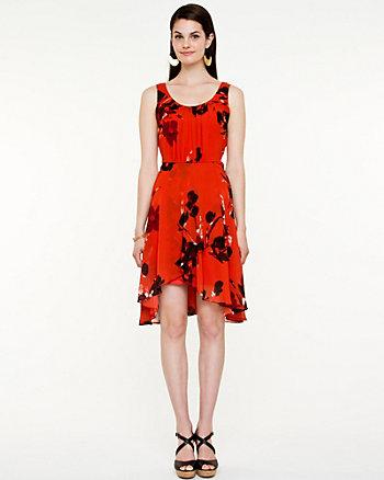 Printed Chiffon Scoop Neck Dress