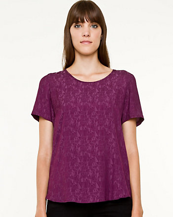 Jacquard Scoop Neck Blouse