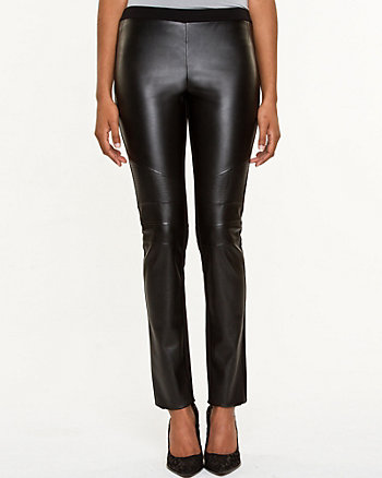Ponte & Leather-Like Slim Leg Pant