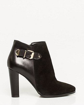 Italian-Designed Suede & Leather Ankle Boot