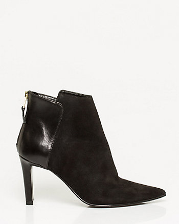 Suede & Leather Pointy Toe Bootie