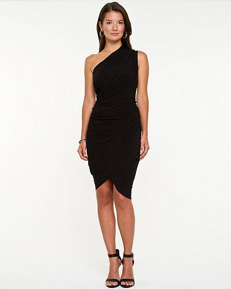 Draped One Shoulder Black Dress