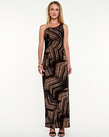 Geo Print Asymmetrical Gown