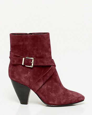 Suede Cone Heel Ankle Boot