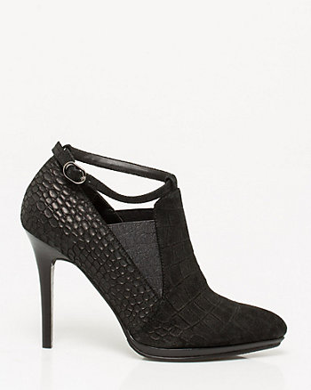 Suede Croco Embossed Shootie