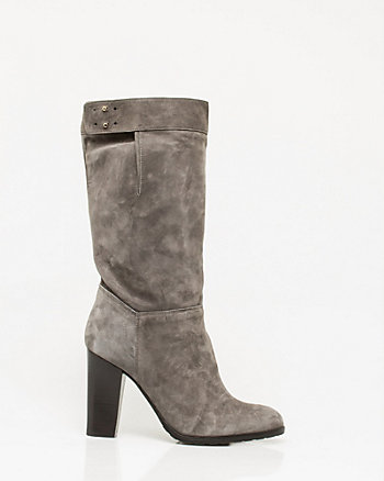 Italian-Made Suede Block Heel Boot