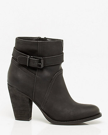 Faux Leather Almond Toe Bootie