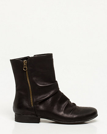 Faux Leather Ruched Ankle Boot