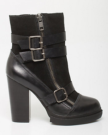 Leather & Suede Platform Ankle Boot