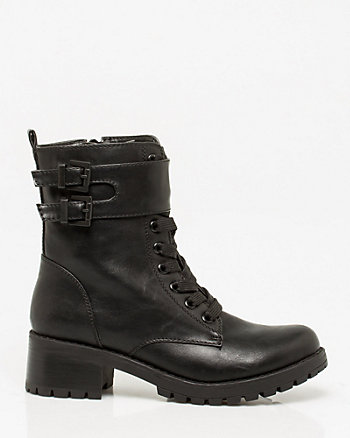 Leather-Like Lace-Up Boot