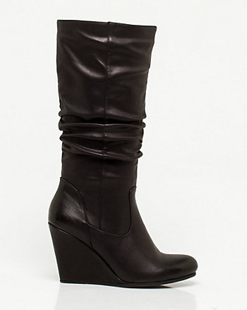 Leather-Like Wedge Boot